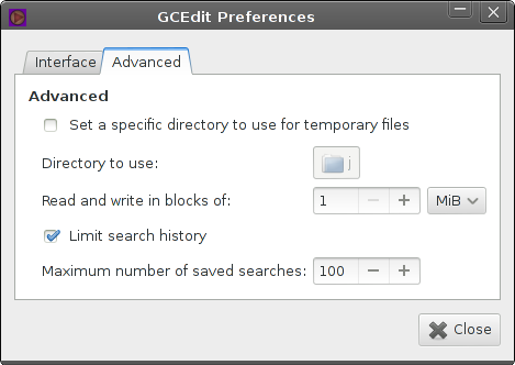 preferences window, advanced tab