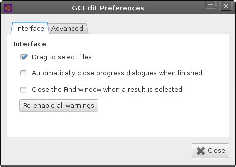 preferences window, interface tab